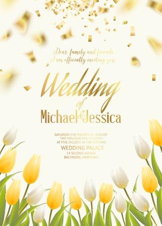 tarjeta de invitacion: Tarjeta de invitaci�n de boda con flores de primavera de tulipanes ramo para su dise�o de la tarjeta. Ilustraci�n del vector.