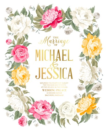 Wedding invitation template with custom text and blooming flowers. Vector illustration.