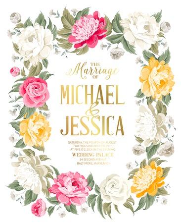 Modelo de la invitación de la boda con el texto de encargo y las flores que florecen. Ilustración del vector. Foto de archivo - 36616603
