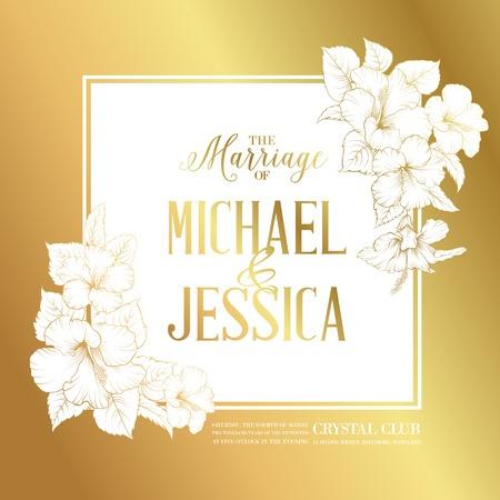결혼식 초대장 텍스트와 히비스커스 꽃의 꽃다발과 황금 카드. 벡터 일러스트 레이 션. 일러스트