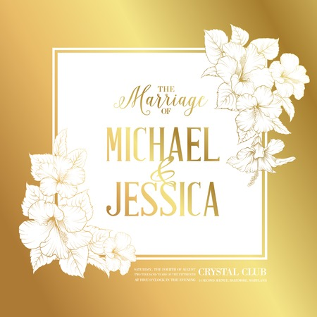 Golden card with wedding invitation text and bouquet of hibiscus flowers. Vector illustration.