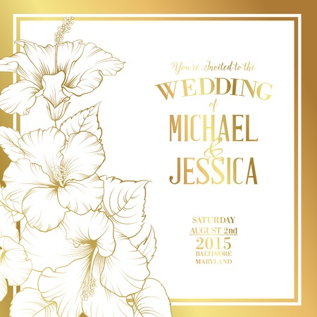 Awesome wedding invitation with generic text for your design golden card with wedding invitation text and bouquet of hibiscus flowers vector illustration vector stopboris