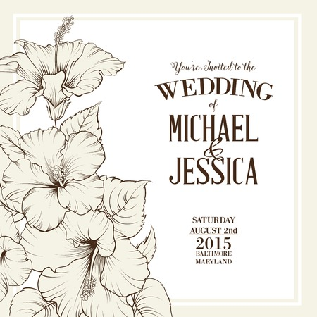 flower card: Wedding invitation template with names Michael and Jessica with exotic flowers. Vector illustration.