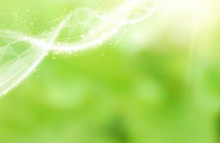verde: Plantilla Ciencia para su tarjeta, papel pintado o pancarta con una molécula de ADN de polígonos. Ilustración del vector.