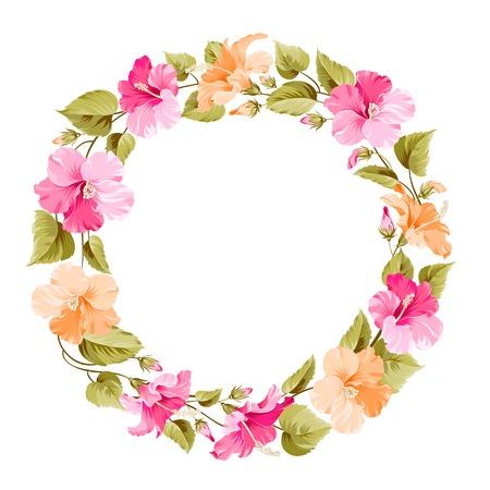 rich girl: Floral wreath for Vintage Label. Vector illustration.