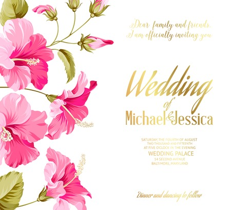 holyday: Wedding invitation card with Happy holyday text and romantic flowers. Vector illustration. Illustration