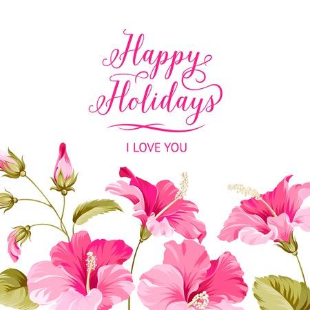 fleurs romantique: Mariage carton d'invitation avec le texte de holyday Heureux et fleurs romantiques. Vector illustration.