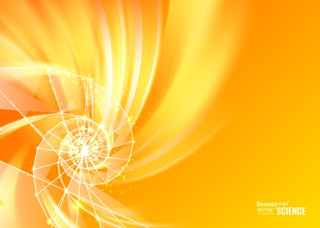 Orange abstract swirl with spiral of poligons. Vector illustration. Illustration