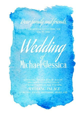 Wedding invitation card with blue watercolor blot on backdrop. Vector illustration.