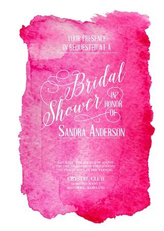 bridal shower: Bridal shower invitation card with red watercolor frame. Vector illustration.