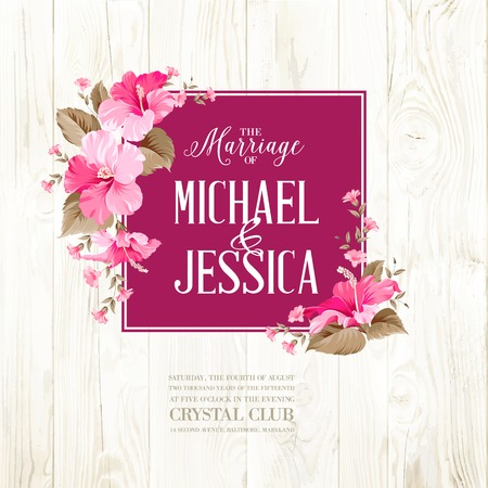 roses petals: Rose mallow garland over wooden wall with romantic text. Vector illustration.