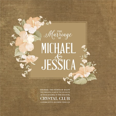 Marriage card with romantic flowers on brown fabric. Vector illustration. Çizim