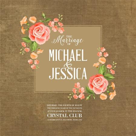 mariage: carte de mariage avec des fleurs romantiques sur tissu marron. Vector illustration.