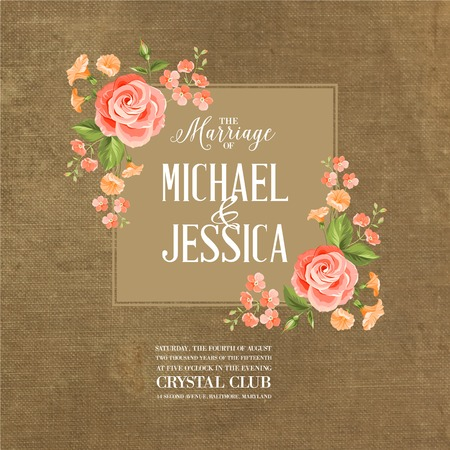 marriage: Marriage card with romantic flowers on brown fabric. Vector illustration. Illustration