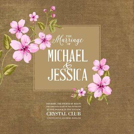 fleurs romantique: carte de mariage avec des fleurs romantiques sur tissu marron. Vector illustration.