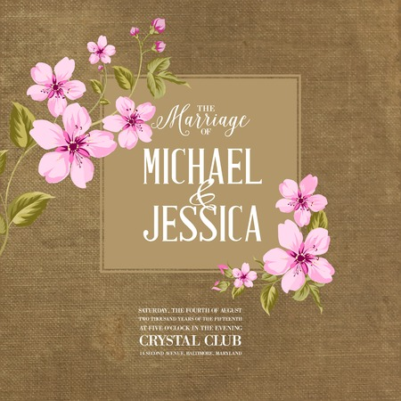 romantyczny: Karta Małżeństwo z romantycznymi kwiatami na brązowej tkaniny. Ilustracji wektorowych.