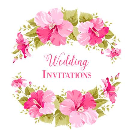 Tarjeta de invitación de boda con guirnaldas de flores y texto caligráfico. Ilustración del vector.