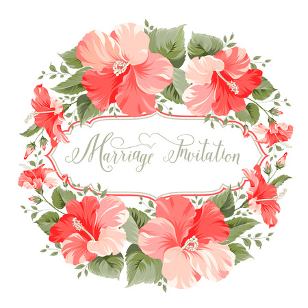 Marriage invitation card with floral garland and calligraphic text. Vector illustration. Vector
