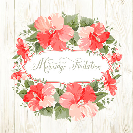 christening: Marriage invitation card with floral garland and calligraphic text. Vector illustration.