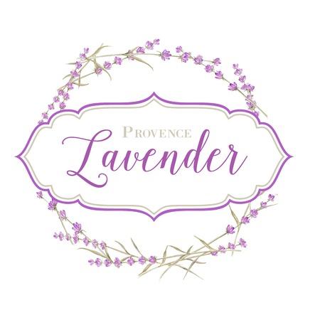 lavender oil: Label with lavender flowers and damask frame. Vector illustration.