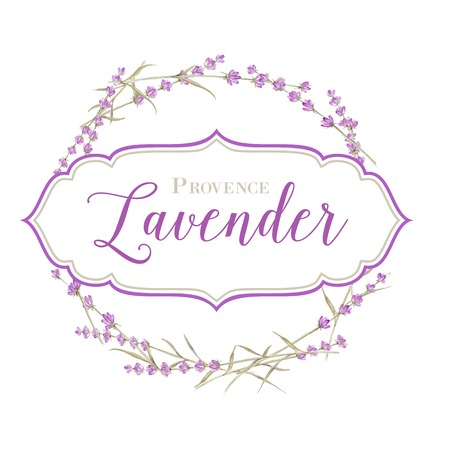 Label with lavender flowers and damask frame. Vector illustration.