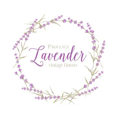 fiori di lavanda: Corona lavanda con testo calligrafico per la progettazione di carta. Illustrazione vettoriale. Vettoriali