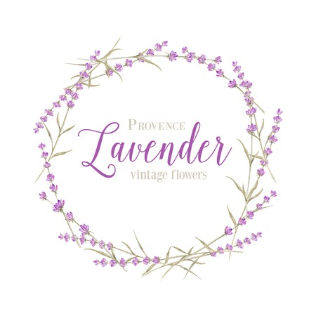 Lavender wreath with calligraphic text for card design. Vector illustration. Vectores