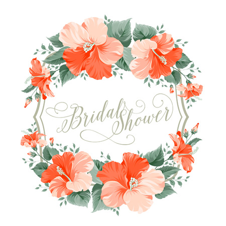 red hibiscus flower: Red hibiscus flower wreath with calligraphic text for bridal shower invitation. Vector illustration.