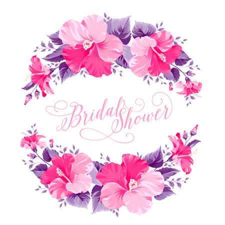 round: Red hibiscus flower wreath with calligraphic text for bridal shower invitation. Vector illustration.