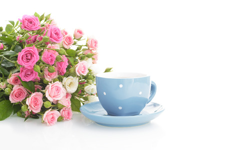 Cup of herbal tea with hip rose flowers, isolated on white.
