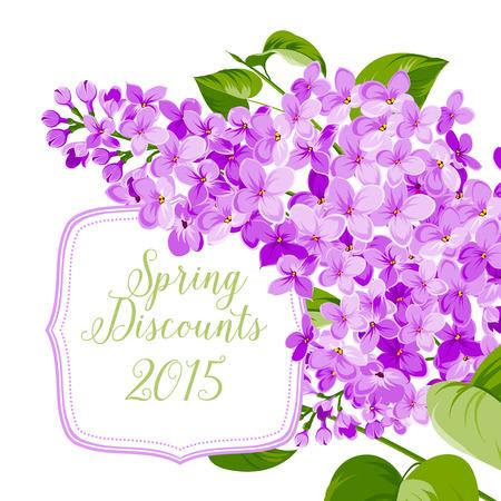 Carta di primavera sfondo di fiori siringa. Illustrazione vettoriale