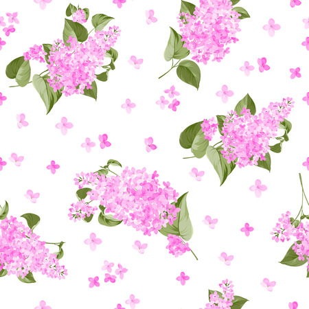 Seamless lilac pattern for fabric samples. Vector illustration.