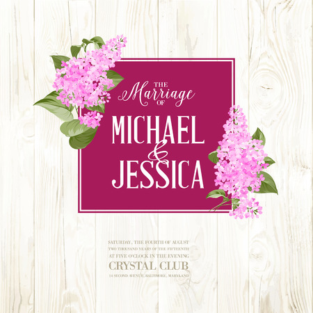 pink wedding: Marriage card background of siringa flowers. Vector illustration