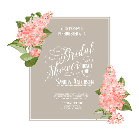 vintage invitation: Bridal shower card background of siringa flowers. Vector illustration