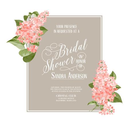 Bridal shower card background of siringa flowers. Vector illustration