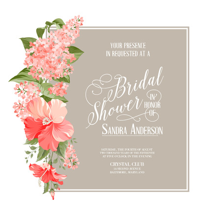 Bridal shower card background of siringa flowers. Vector illustration