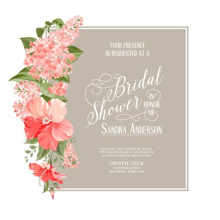 Vrijgezellenfeest kaart achtergrond van Siringa bloemen. Vector illustratie Stock Illustratie