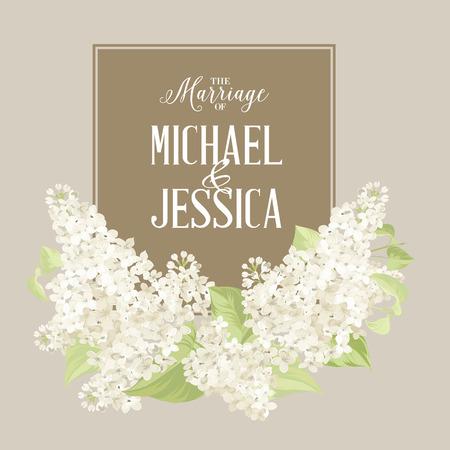 Scheda Matrimonio sfondo di fiori bianchi siringa. Illustrazione vettoriale Vettoriali