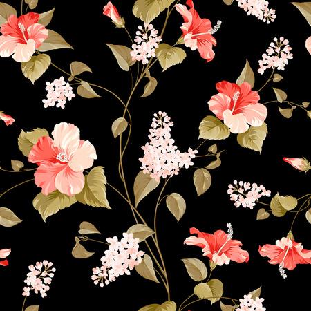 Seamless pattern di siringa e ibisco fiori per campioni di tessuto. Illustrazione vettoriale.