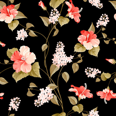 fabric samples: Seamless pattern of siringa and hibiscus flowers for fabric samples. Vector illustration. Illustration