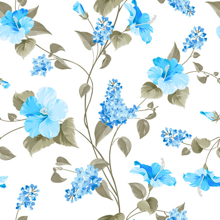 fiori di ibisco: Seamless pattern di Syringa e fiori di ibisco per campioni di tessuto. Illustrazione vettoriale. Vettoriali