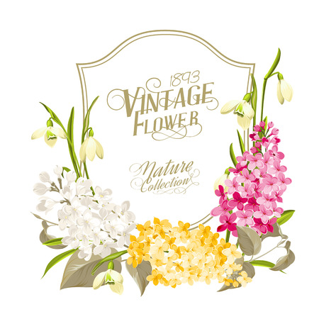 Vintage frame Delicate bouquet of lilacs and snowdrops