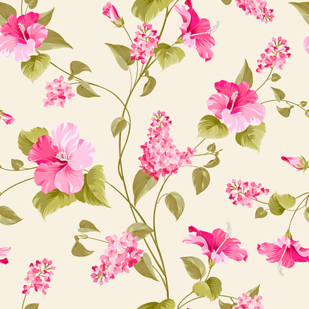 fabric painting: Seamless pattern of siringa and hibiscus flowers for fabric pattern. Vector illustration. Illustration