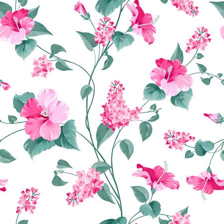 Seamless pattern di siringa e ibisco fiori modello in tessuto. Illustrazione vettoriale.