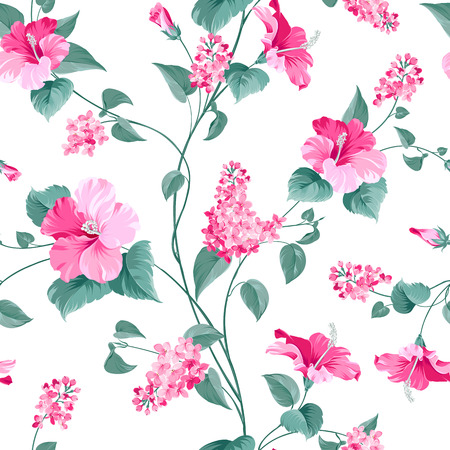 biege: Seamless pattern of siringa and hibiscus flowers for fabric pattern. Vector illustration. Illustration
