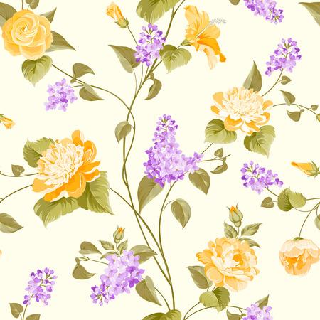 Seamless pattern di siringa e ibisco fiori modello in tessuto. Illustrazione vettoriale. Vettoriali