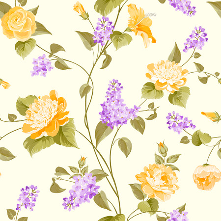 Seamless pattern of siringa and hibiscus flowers for fabric pattern. Vector illustration. Vector