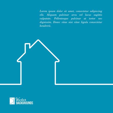 zakelijk: Huis in een minimale vlakke stijl ocatie lijn. Vector illustratie.