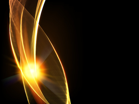 gold colour: Abstract background with fire smoke over black backdrop. Vector illustration.