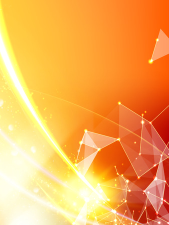 hexagon background: Abstract orange light background of atom for science design. Vector illustration. Illustration